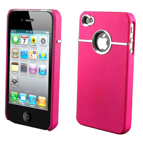 Hard Back Cover Case Skin With Chrome For iPhone 4 - Pink