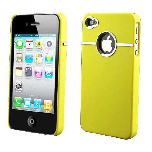 Hard Back Cover Case Skin With Chrome For iPhone 4 - Yellow - LiquidationOutlet.ca
