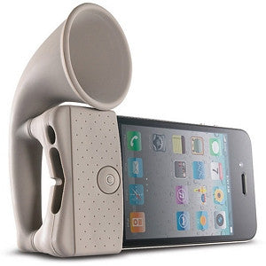 Horn Stand Amplifier Speaker for iPhone 4 - Grey - LiquidationOutlet.ca