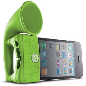 Horn Stand Amplifier Speaker for iPhone 4 - Green - LiquidationOutlet.ca