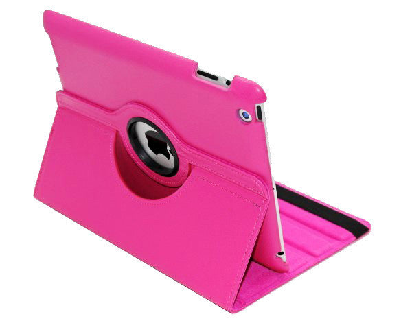 360 Ipad 2/3 Magnetic Leather Case- Hot Pink - LiquidationOutlet.ca