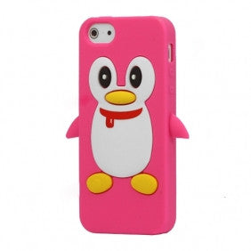 Penguin Silicone Soft Case Cover Skin For Apple iPhone 4 & 4S - Hot Pink - LiquidationOutlet.ca