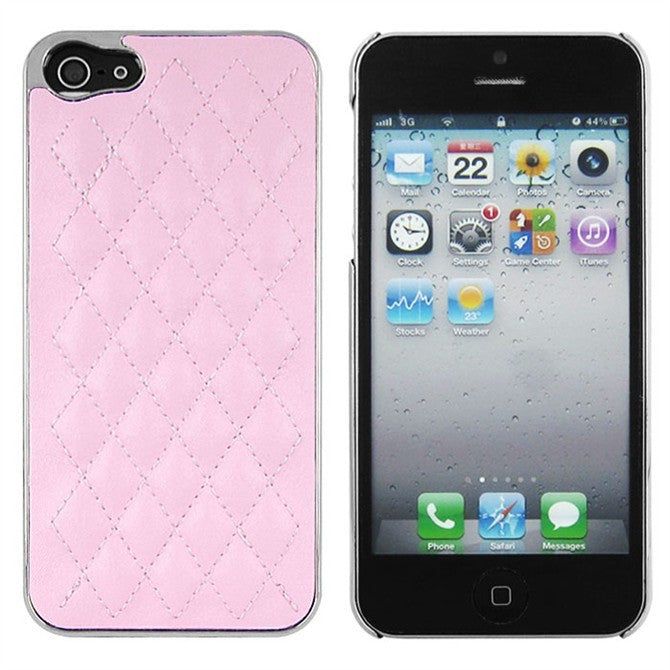 Deluxe Iphone 5 Leather Chrome Case- Pink - LiquidationOutlet.ca