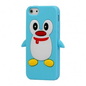 Penguin Silicone Soft Case Cover Skin For Apple iPhone 4 & 4S - Light Blue - LiquidationOutlet.ca