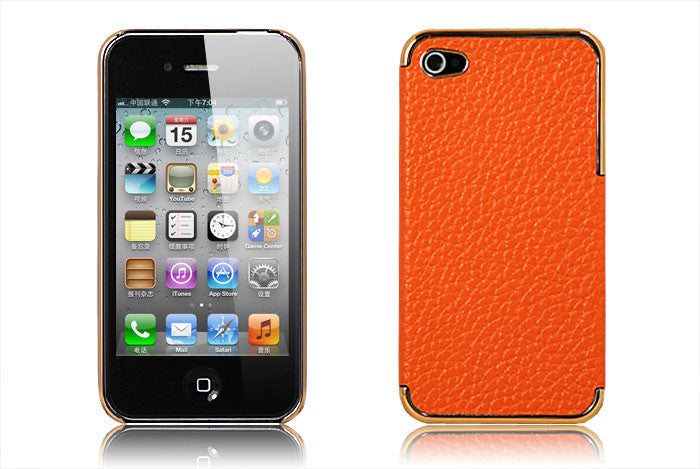 Leather Hard Back Cover Iphone 4/4S - LiquidationOutlet.ca