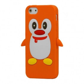 Penguin Silicone Soft Case Cover Skin For Apple iPhone 4 & 4S - Orange - LiquidationOutlet.ca