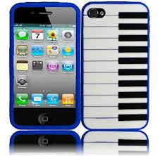 Piano Style Silicon Case Cover for iPhone 4/4S - Blue - LiquidationOutlet.ca