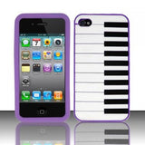 Piano Style Silicon Case Cover for iPhone 4/4S - Purple - LiquidationOutlet.ca