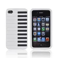 Piano Style Silicon Case Cover for iPhone 4/4S - white - LiquidationOutlet.ca
