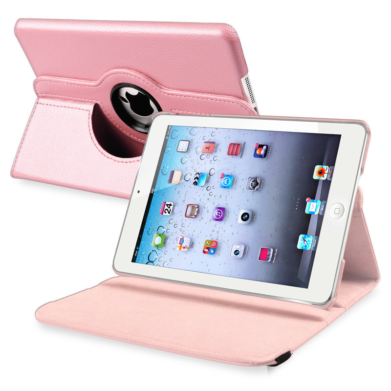 iPad Mini 360 Leaher Rotating Case Cover - Pink - LiquidationOutlet.ca