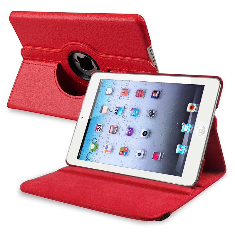 iPad Mini 360 Leaher Rotating Case Cover - Red - LiquidationOutlet.ca