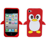 Penguin Silicone Soft Case Cover Skin For Apple iPhone 4 & 4S - Red - LiquidationOutlet.ca