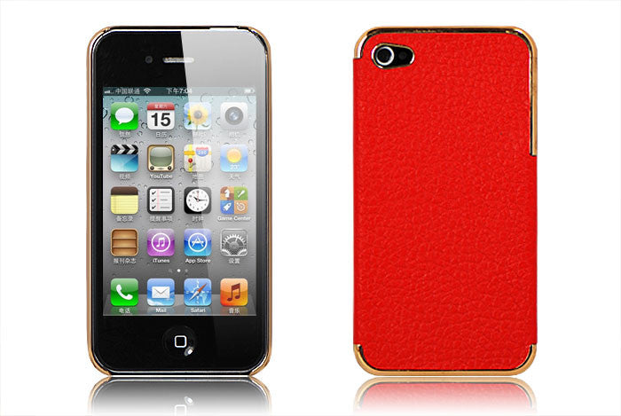 Leather Hard Back Cover Iphone 4/4S- Red - LiquidationOutlet.ca