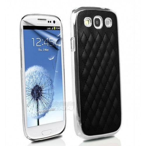 Deluxe Leather Chrome Case for Samsung S3 - Black - LiquidationOutlet.ca