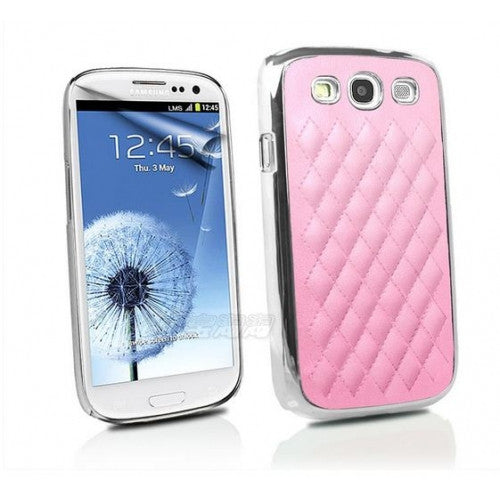 Luxury Leather and Chrome Samsung Galaxy S3 case - Pink - LiquidationOutlet.ca