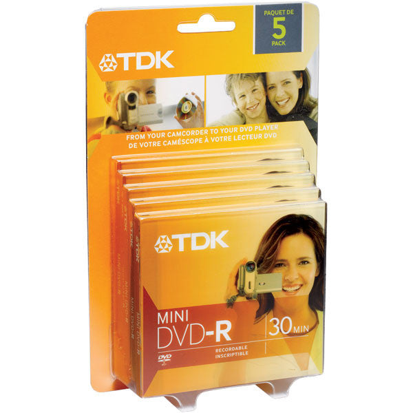 TDK 1.4GB Mini DVD-R Disc for Camcorder 5-Pk DVD-R14ABX - LiquidationOutlet.ca