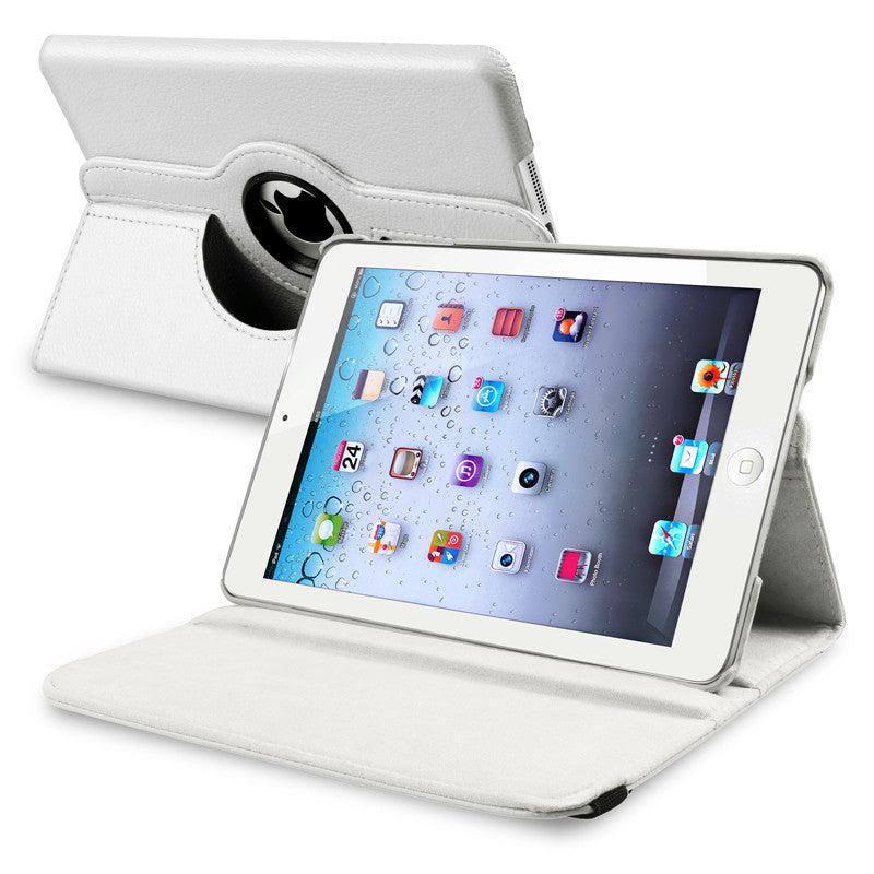 iPad Mini 360 Leaher Rotating Case Cover - White - LiquidationOutlet.ca