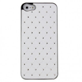 Deluxe iPhone 5 Hard Case W. Bling Stones White - LiquidationOutlet.ca