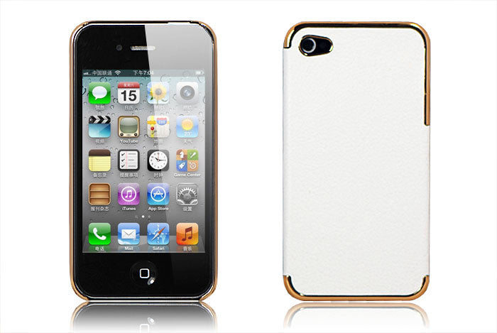 Leather Hard Back Cover Iphone 4/4S- White - LiquidationOutlet.ca