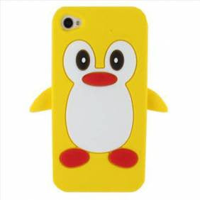 Penguin Silicone Soft Case Cover Skin For Apple iPhone 4 & 4S - Yellow - LiquidationOutlet.ca
