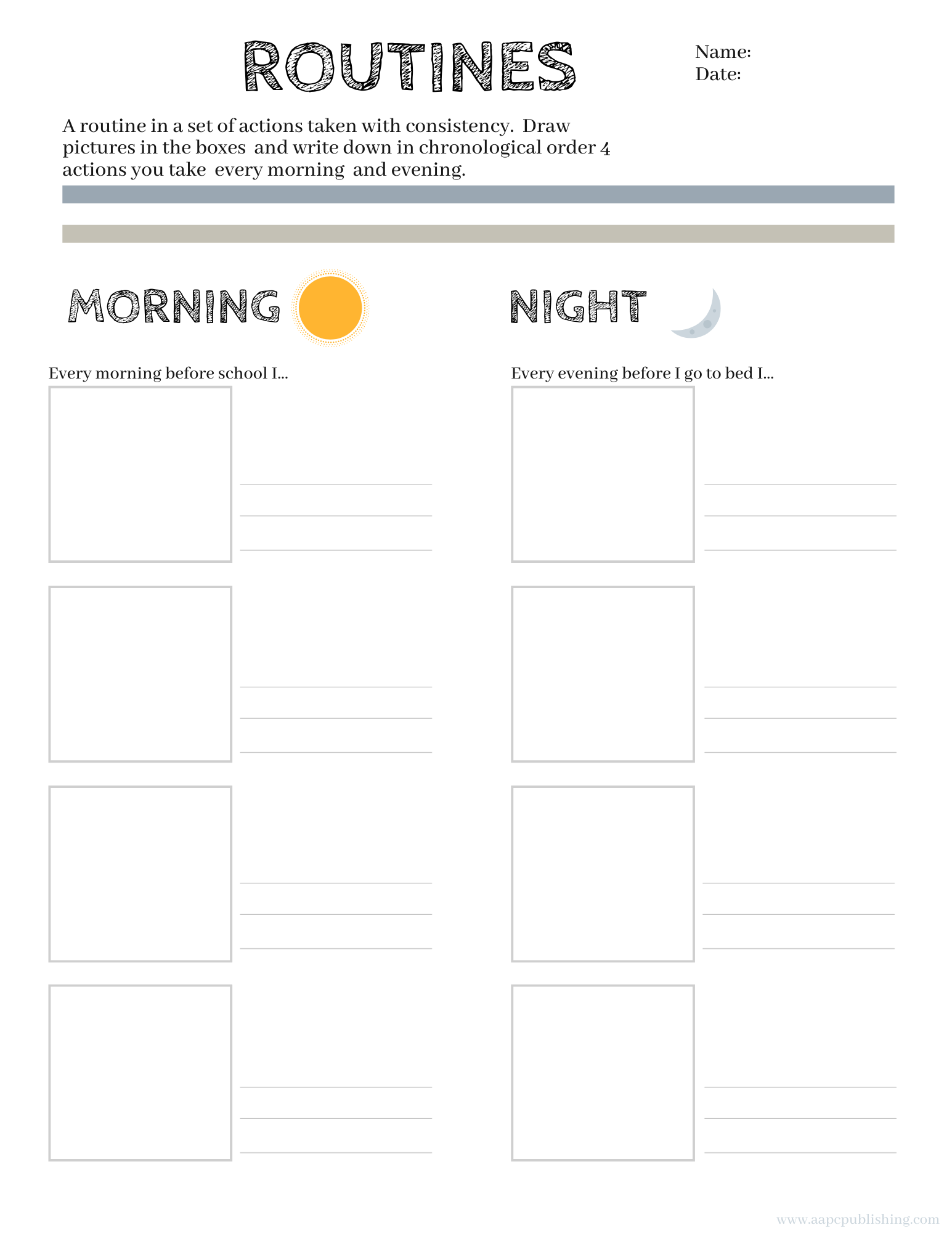 Routines Worksheet - Free Printable - AAPC Publishing