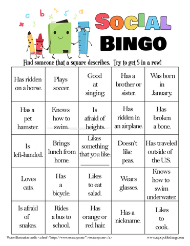 Social Bingo Game - Printable - AAPC Publishing
