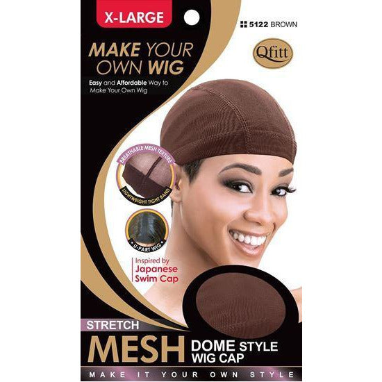 M&M Headgear Qfitt X-Large Brown Stretch Mesh Dome Style Wig Cap
