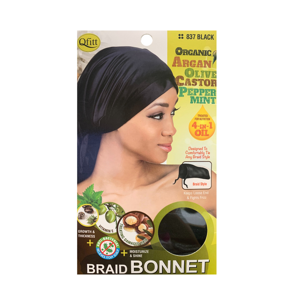 M&M Headgear Qfitt Satin Braid Bonnet w/ Argan, Olive Oil & Shea Butter, Black #837