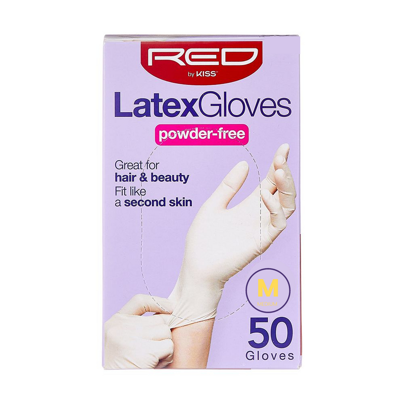 RED By Kiss Powder-Free Latex Gloves - Medium 50CT