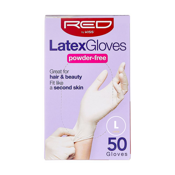 RED By Kiss Powder-Free Latex Gloves - Large 50CT