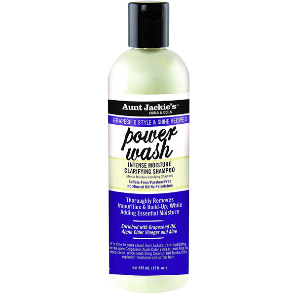 Aunt Jackie's  Grapeseed Style & Shine Power Wash Intense Moisture Clarifying Shampoo 12 OZ