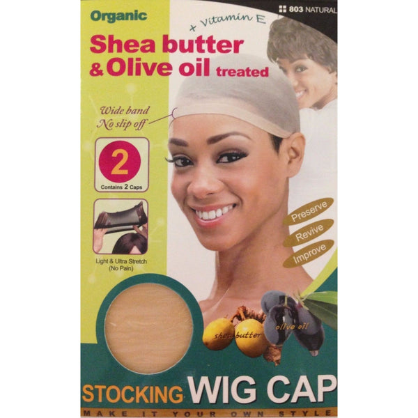M&M Headgear Qfitt Wig Cap w/ Shea Butter & Olive Oil, Natural #803