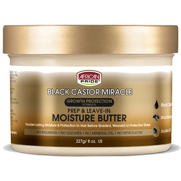 African Pride Black Castor Miracle Prep & Leave-In Moisture Butter 8 OZ