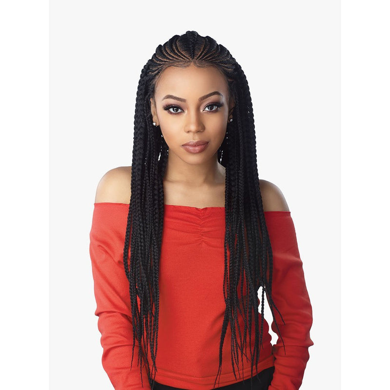 Sensationnel Cloud 9 Synthetic Hand-Braided Swiss Lace Wig – Feed In Fulani Cornrow