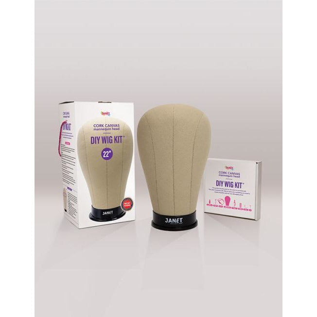 Janet Collection Cork Canvas Mannequin Head - DIY Wig Kit