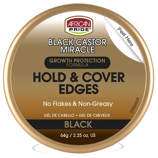 African Pride Black Castor Miracle Hold & Cover Edges Black 2.25 OZ
