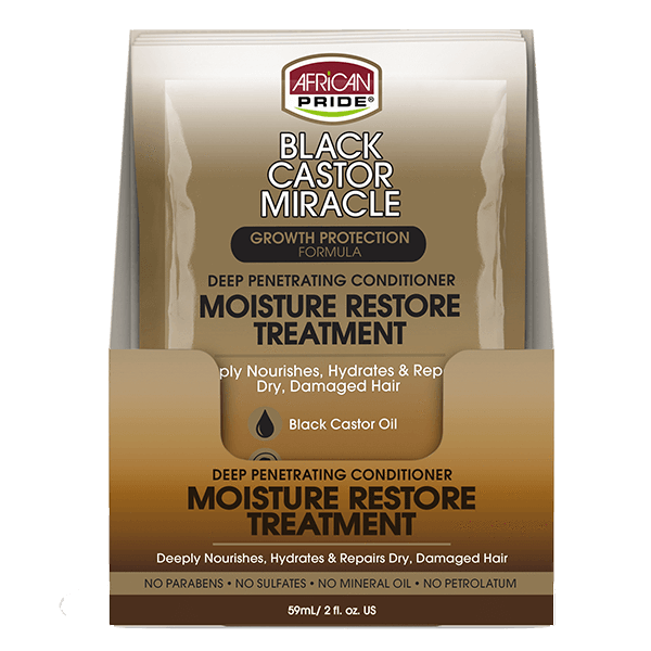 African Pride Black Castor Miracle Deep Penetrating Conditioner Moisture Restore Treatment 2 OZ