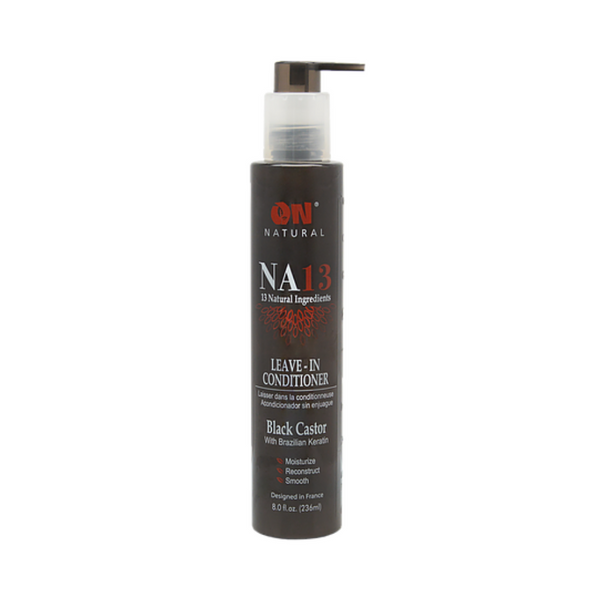 Organic Natural NA13 Leave In-Conditioner Black Castor with Brazilian Keratin 8 OZ