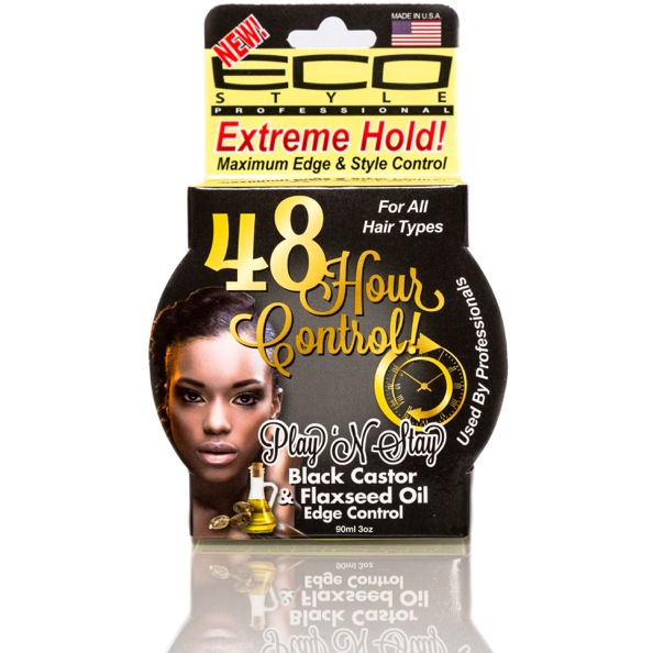 Eco Style Play 'N Stay Black Castor & Flaxseed Oil Edge Control Gel 3 OZ