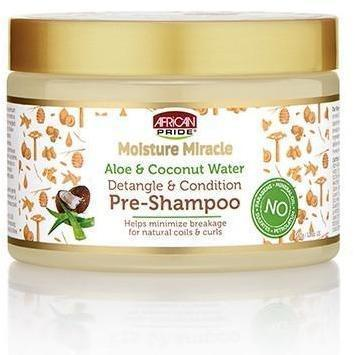 African Pride Moisture Miracle Aloe & Coconut Water Detangle & Condition Pre-Shampoo 12 OZ