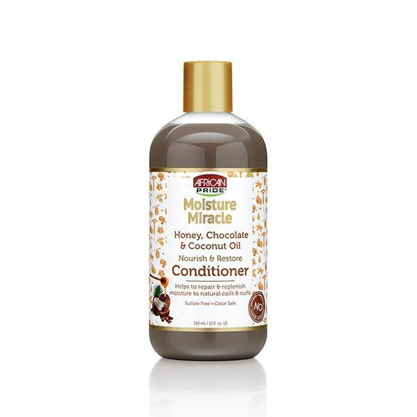 African Pride Moisture Miracle Honey, Chocolate & Coconut Oil Nourish & Restore Conditioner 12 OZ