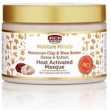 African Pride Moisture Miracle Moroccan Clay & Shea Butter Detox & Soften Heat Activated Masque 12 OZ