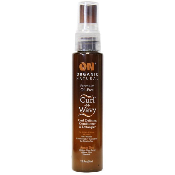 Organic Natural Premium Oil-Free Curl -N- Wavy Curl Defining Conditioner & Detangler Argan Tree 2 OZ
