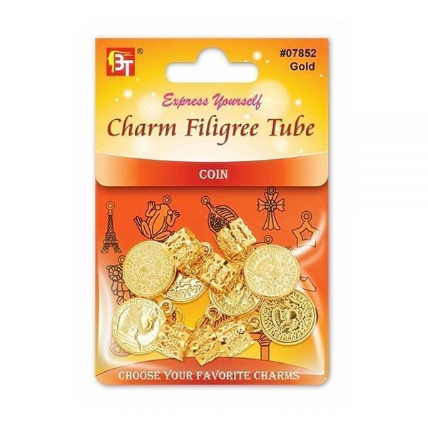 Beauty Town Charm Filigree Tube, Coin