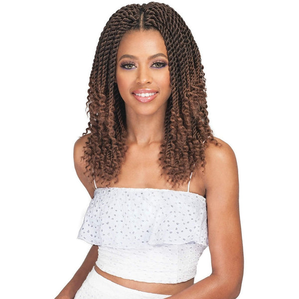 Bobbi Boss Bomba Synthetic Braids – Bomba Senegal Twist Curly Tips 10""