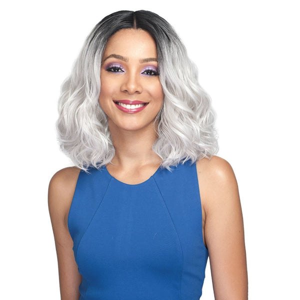 Bobbi Boss Deep Part Human Hair Blend Swiss Lace Front Wig – MBLF160 Lacina