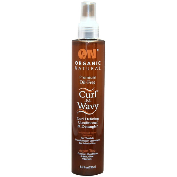 Organic Natural Premium Oil-Free Curl -N- Wavy Curl Defining Conditioner & Detangler Argan Tree 8 OZ