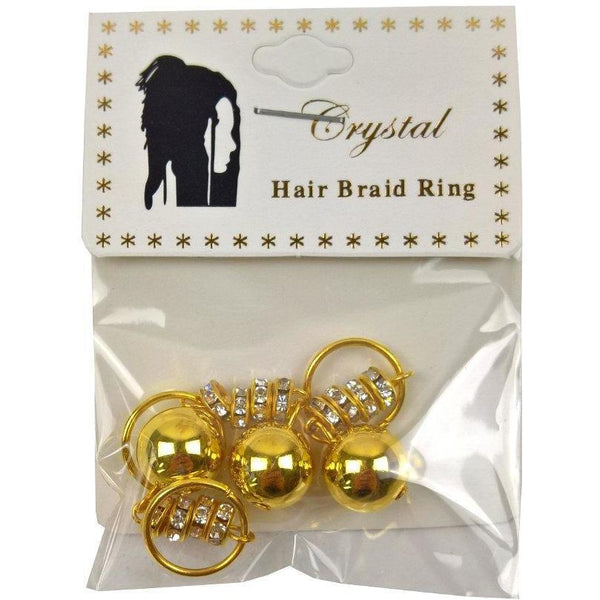 Crystal Hair Braid Ring Gold Ball Stone