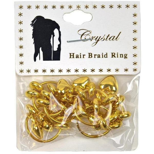 Crystal Hair Braid Ring Gold Heart