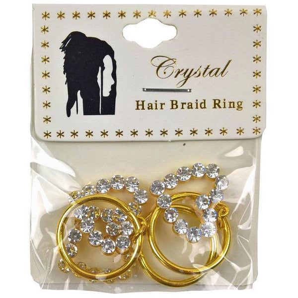 Crystal Hair Braid Ring Gold Heart Stone